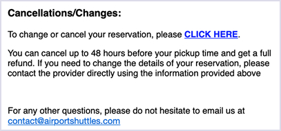 Shuttle email confirmations