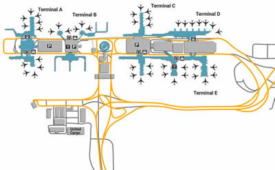 Houston Bush IAH Airport Shuttle Service - Houston terminal map