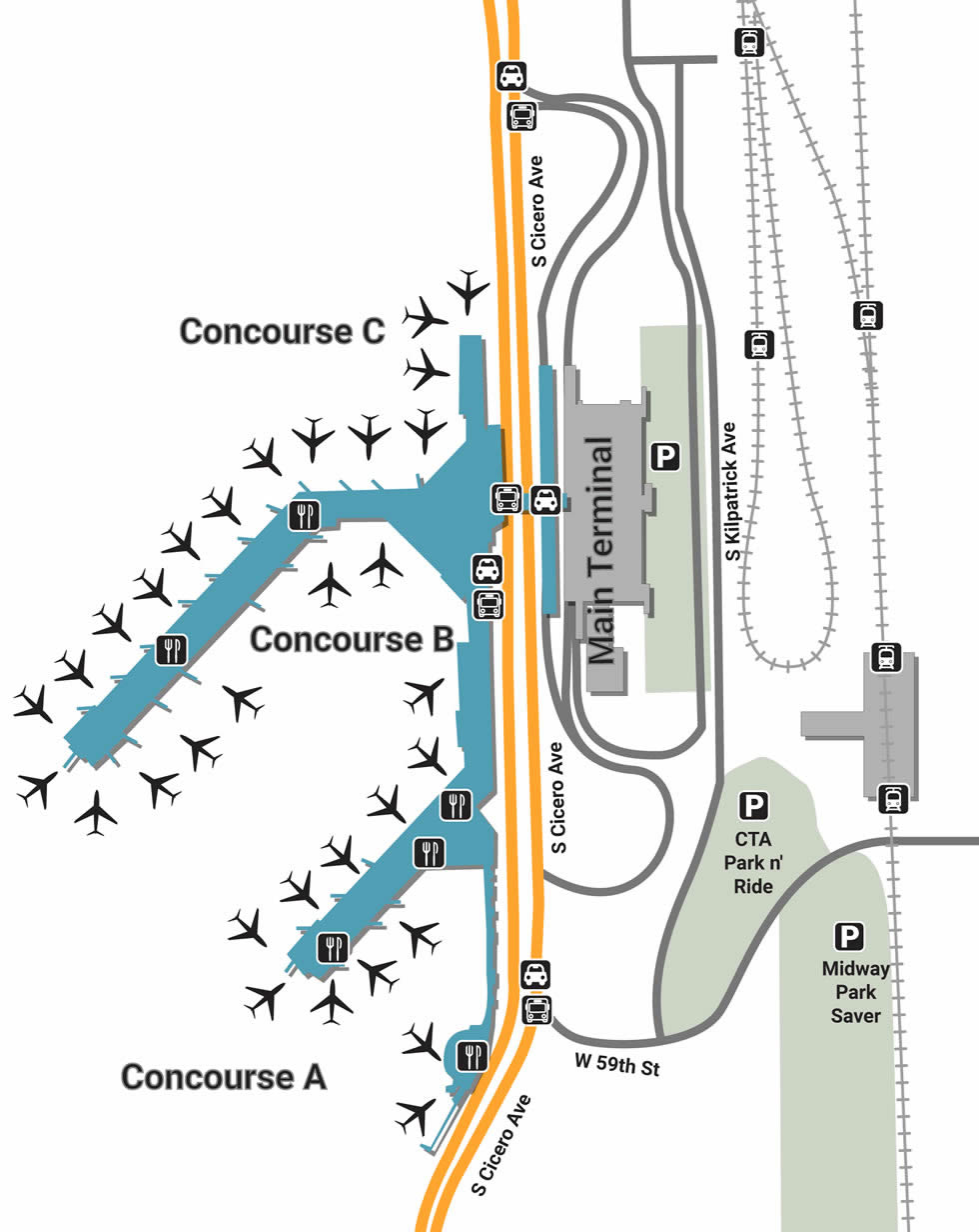 midway airport arrivals map Mdw Airport Pick Up And Drop Off midway airport arrivals map